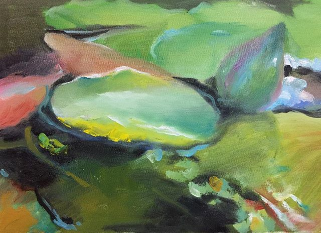 荷池_Lotus pond _oil on canvas _23x34cm