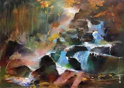 岩石的暗戀_Flowing _oil on canvas _24x33cm