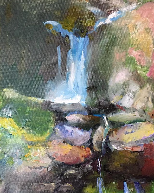 石頭和水_Water falls _oil on canvas 24x33cm