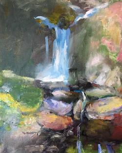 石頭和水_Water falls _oil on canvas 24x33cm