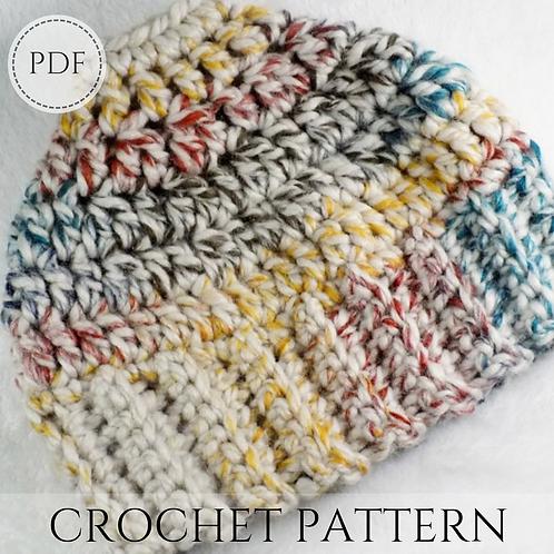 Messy Bun Beanie, Crochet pattern, PDF