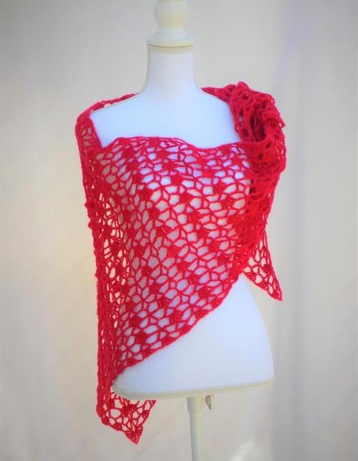 Red alpaca and silk shawl