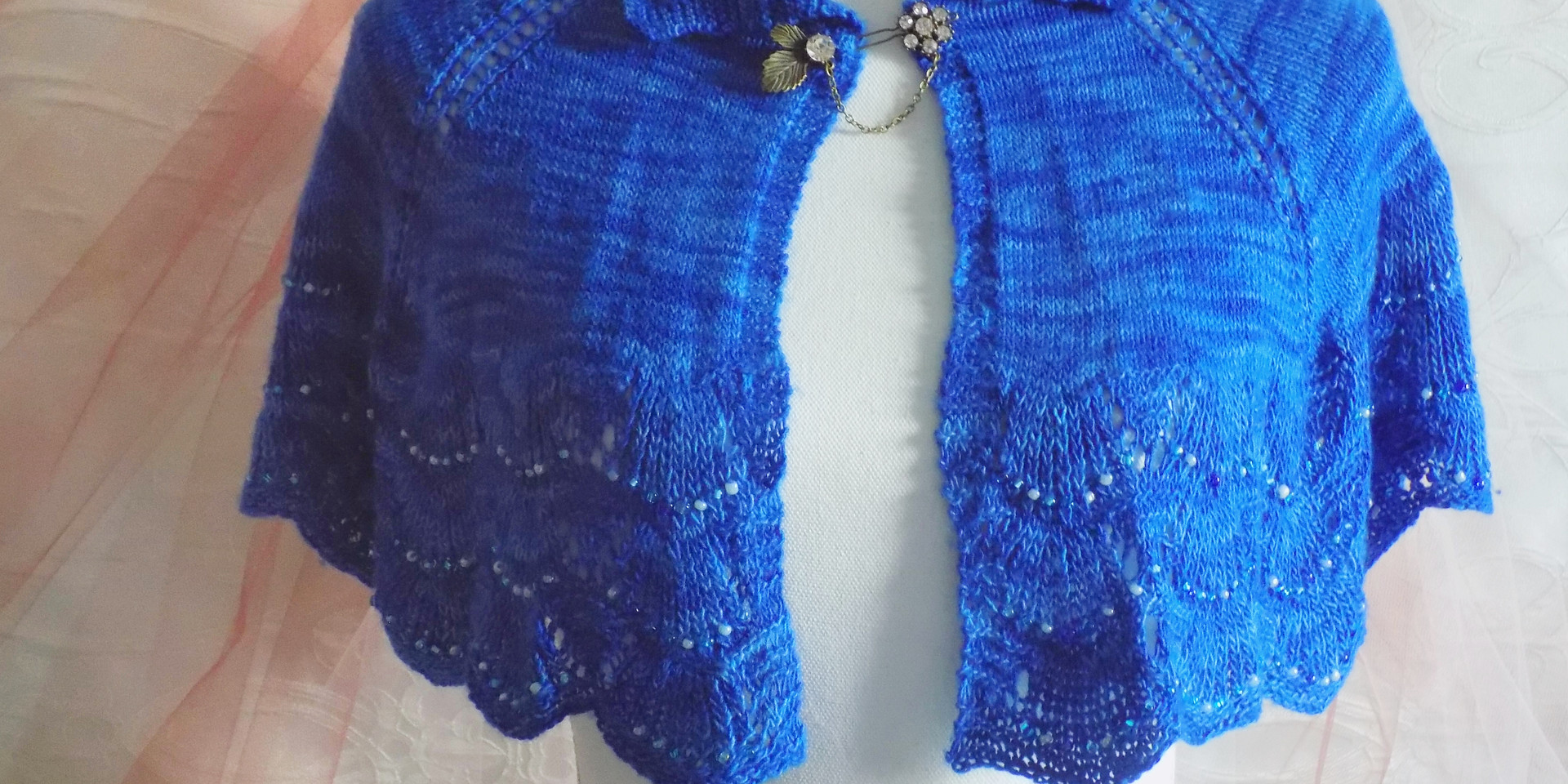 Cobalt blue beaded capelet