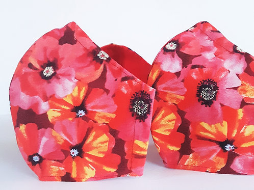 Poppy fitted face mask, floral face mask