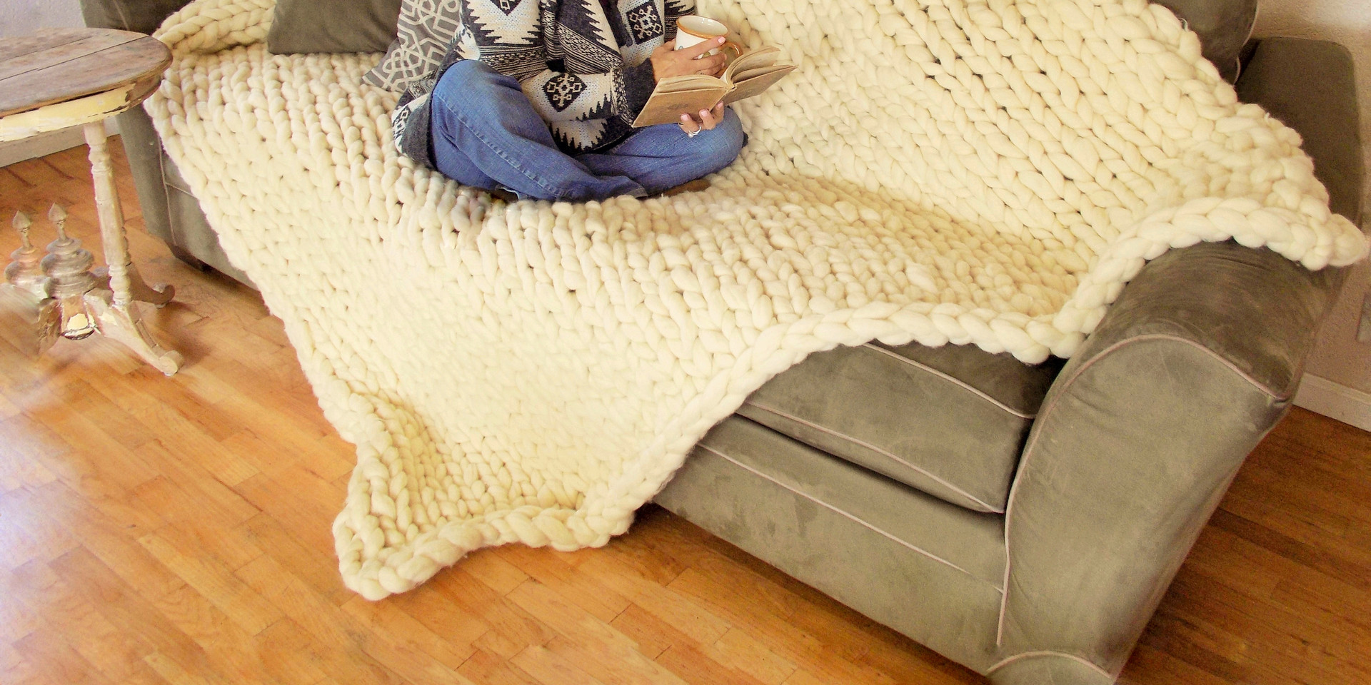 Big knit blanket - 100 % merino wool