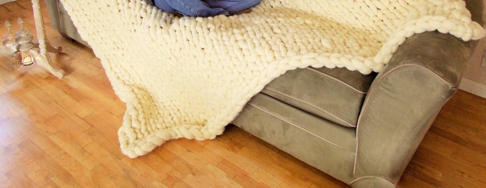 Big knit blanket - 100 % merino wool