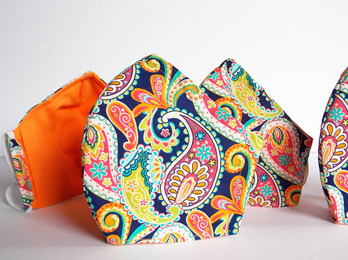 Neon Orange Paisley Face Mask
