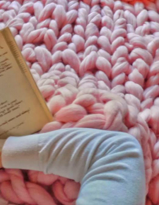 Pink merino wool blanket
