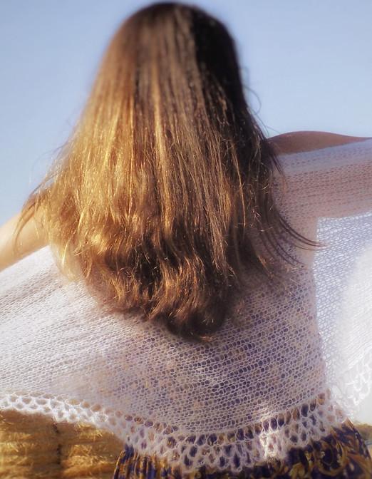 White bridal shawl