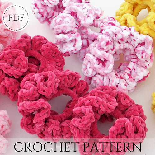 Velvet scrunchie - crochet pattern