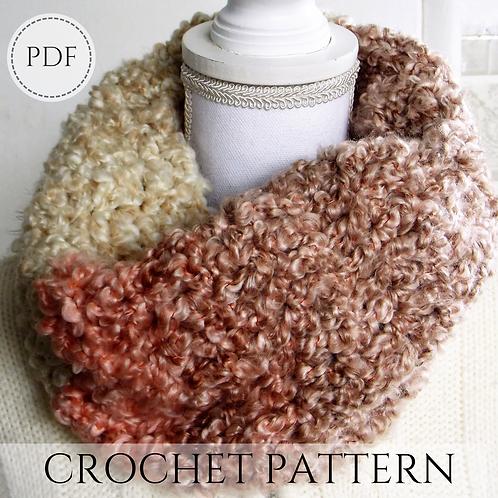 Fluffy cowl - crochet pattern