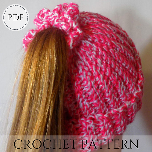 Ponytail Hat - Crochet pattern - PDF download
