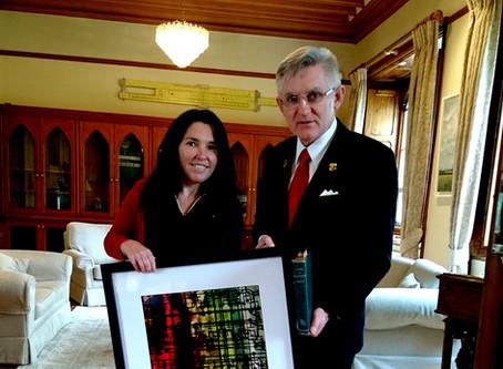 Presentation to UCC President, Professor O'Shea 'Boolean Logic', work by Angela Gilmour.