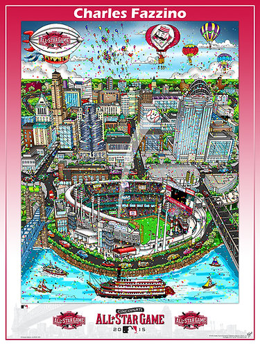 2015 All-Star Game Cincinnati Poster Print by Charles Fazzino