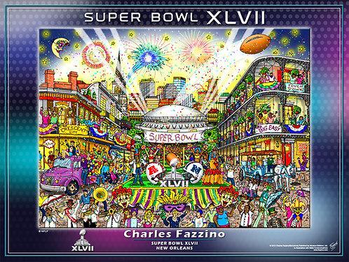 Super Bowl XLVII Poster Print by Charles Fazzino