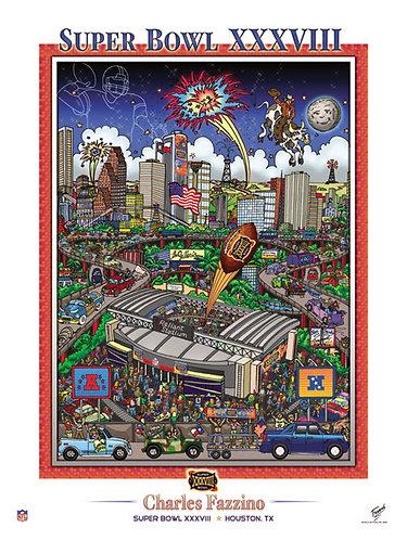 Super Bowl XXXVIII Poster Print by Charles Fazzino
