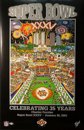 Super Bowl XXXV Oversized Poster Print by Charles Fazzino