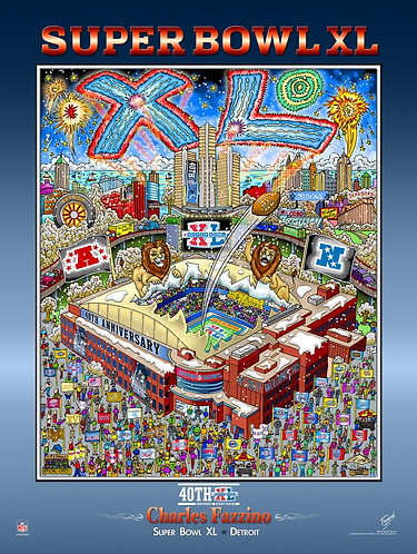 Super Bowl XL Poster Print by Charles Fazzino