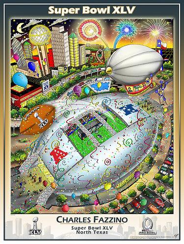 Super Bowl XLV Poster Print by Charles Fazzino