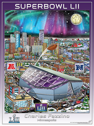 Super Bowl LII Poster Print by Charles Fazzino