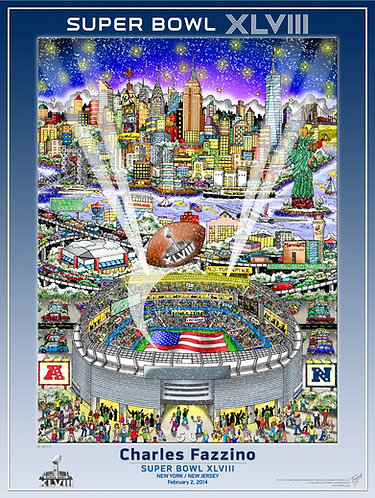Super Bowl XLVIII Poster Print by Charles Fazzino