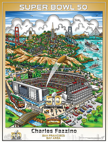 Super Bowl 50 Poster Print by Charles Fazzino