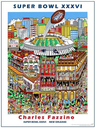 Super Bowl XXXVI Poster Print by Charles Fazzino