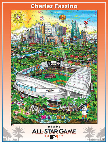 2017 All-Star Game Miami Poster Print by Charles Fazzino