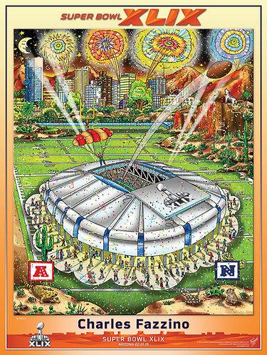 Super Bowl XLIX Poster Print by Charles Fazzino