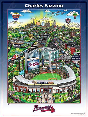 Atlanta Braves SunTrust Park Poster Print by Charles Fazzino