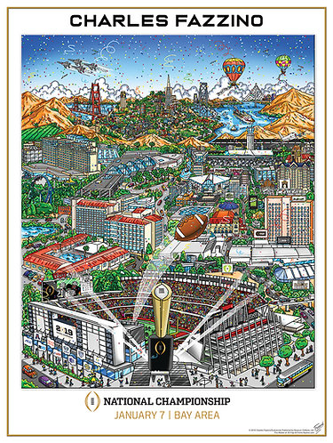 College Football Championship Poster Print by Charles Fazzino