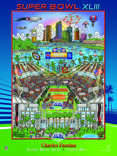 Super Bowl XLIII Poster Print by Charles Fazzino