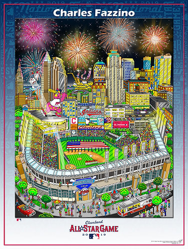 2019 All Star Game Cleveland Poster Print by Charles Fazzino