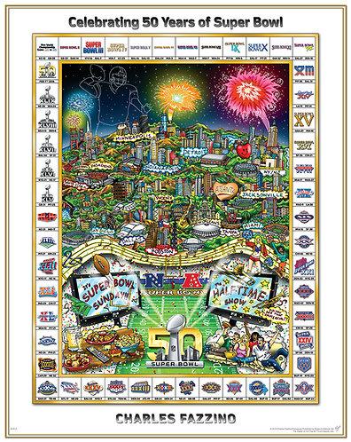 Celebrating 50 Years of Super Bowl Flat Art Print