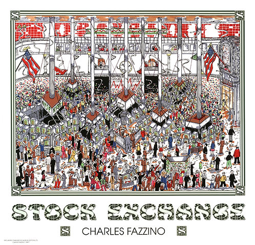 Stock Exchange Poster Print by Charles Fazzino