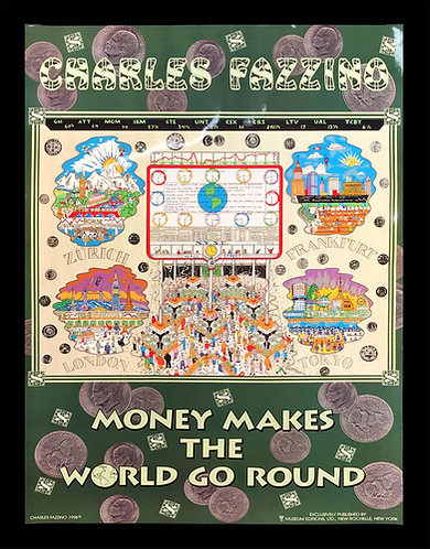Vintage Money Makes the World Go Round Poster Print by Charles Fazzino