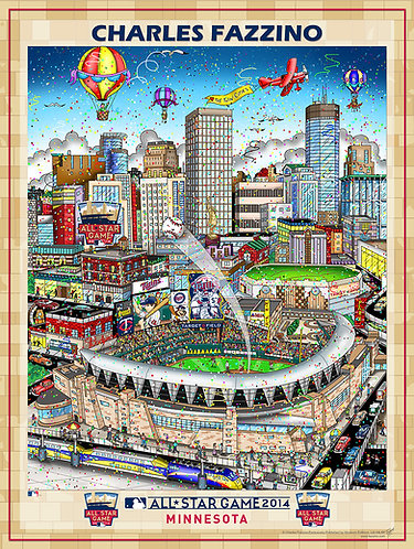 2014 All-Star Game Minneapolis Poster Print by Charles Fazzino