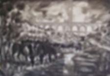 Taureaux et PdG encre de Chine 90x130 cm