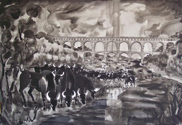Taureaux et Pont du Gard