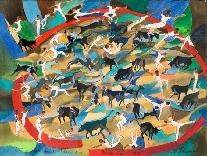 palme d'or 2 1er  taureau aquarelle 30x4