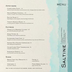 Saltine Restaurant Menu Type Exercise