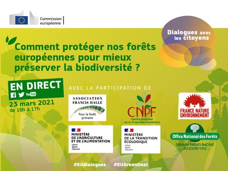 23 mars 2021, 16h, débat sur la future stratégie forestière et la stratégie biodiversité de l'UE