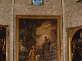 A l'abbatiale de St Gilles, l'UE a contribué à la restauration du tableau  «Saint Gilles sur