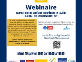 Mardi 19 janvier 18h00 - Webinaire « La politique de cohésion européenne en Lozère »