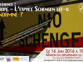 Conférence : Europe - L'espace Schengen est-il condamné? Le Jeudi 16 juin à 18h30 !