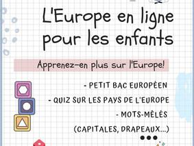 Pendant la crise sanitaire ! L'Europe en ligne pour les enfants de 8 à 12 ans !