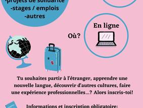 """11 mai, 18h - Réunion d'information """"Partir à l'étranger"""""""