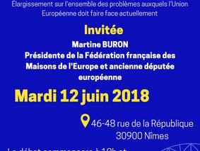 """Mardi 12 juin à 18h - Débat avec Mme BURON """"En 2019, le Parlement européen pourrait-il devenir"""