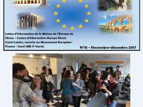 La lettre Europe Novembre - Décembre 2017 est arrivée !