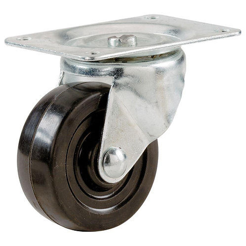 2 in. Soft Rubber Swivel Plate Caster - Set of FOUR